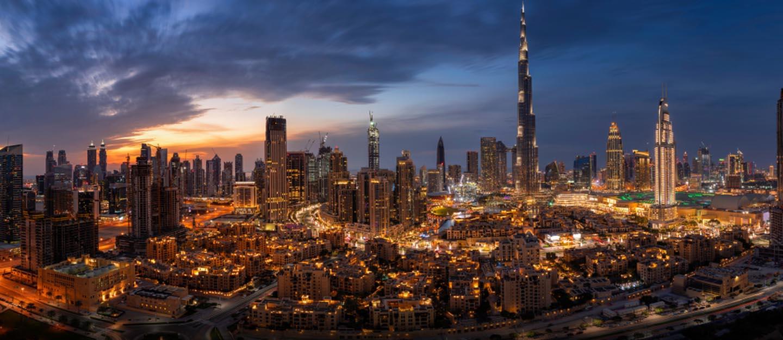 bird-eye view of Dubai at night
