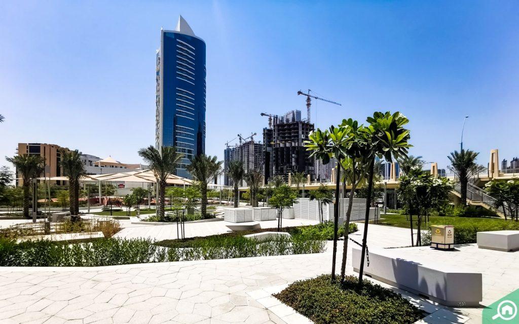 Seating areas at park near Shams Abu Dhabi