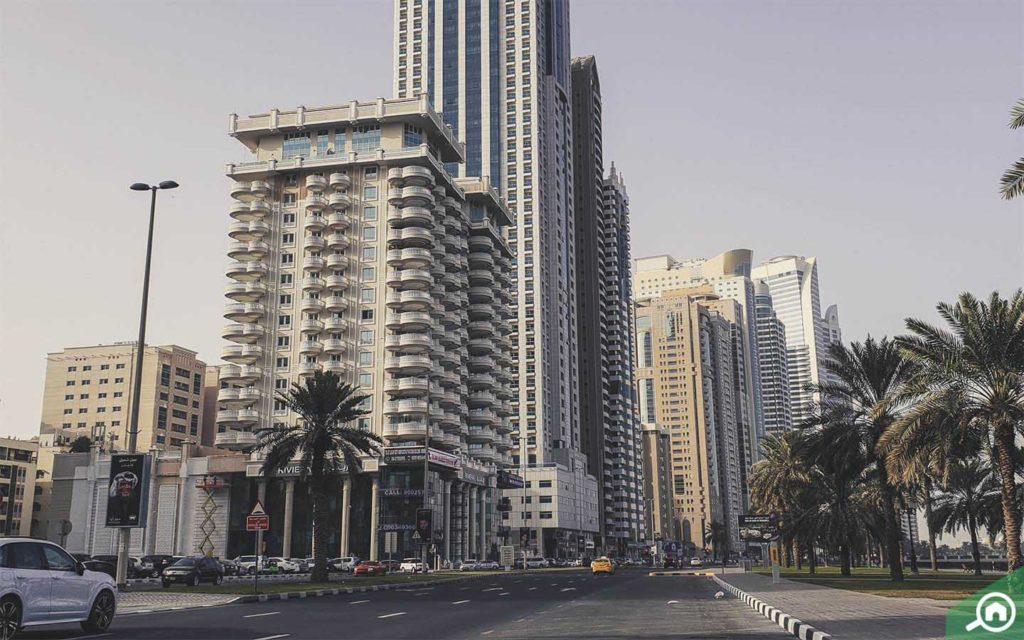 View of Al Majaz buildings from street