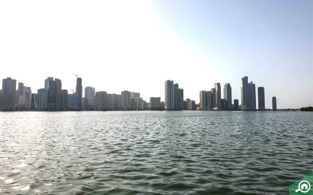 View of buildings from water