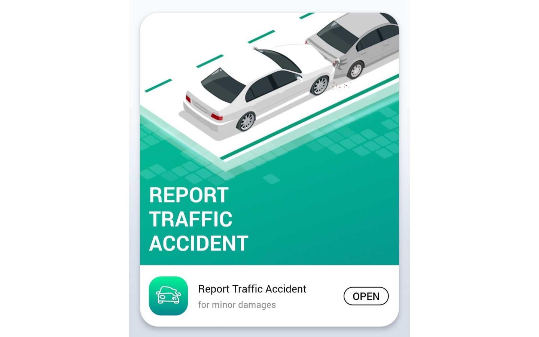 Report an accident in Dubai service on Dubai Police App, for how to report an accident in Dubai online