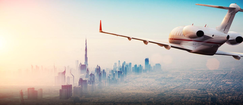 airplane flying into Dubai