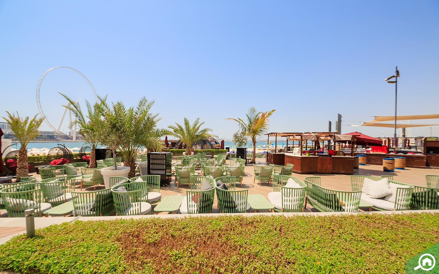 Outside seating view of a restaurant on the JBR beach