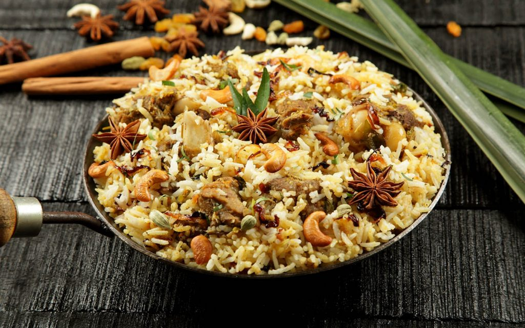 pilaf served with cashew nuts