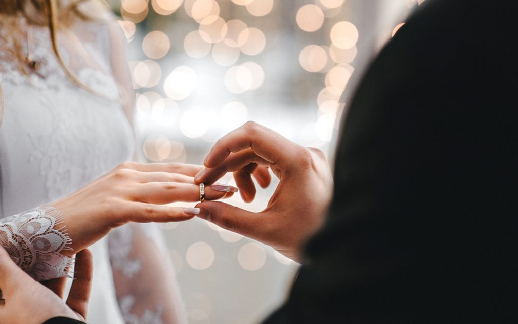 Ring ceremony at a wedding