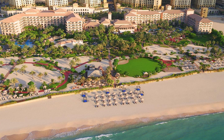 Aerial View of Ritz Carlton's private beaches in Dubai