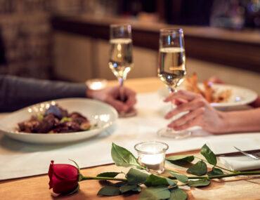 couple in romantic restaurant