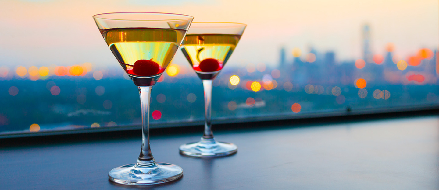 martinis on a rooftop