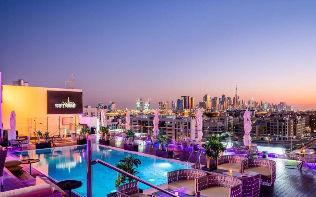Inside Estrellas Rooftop Lounge