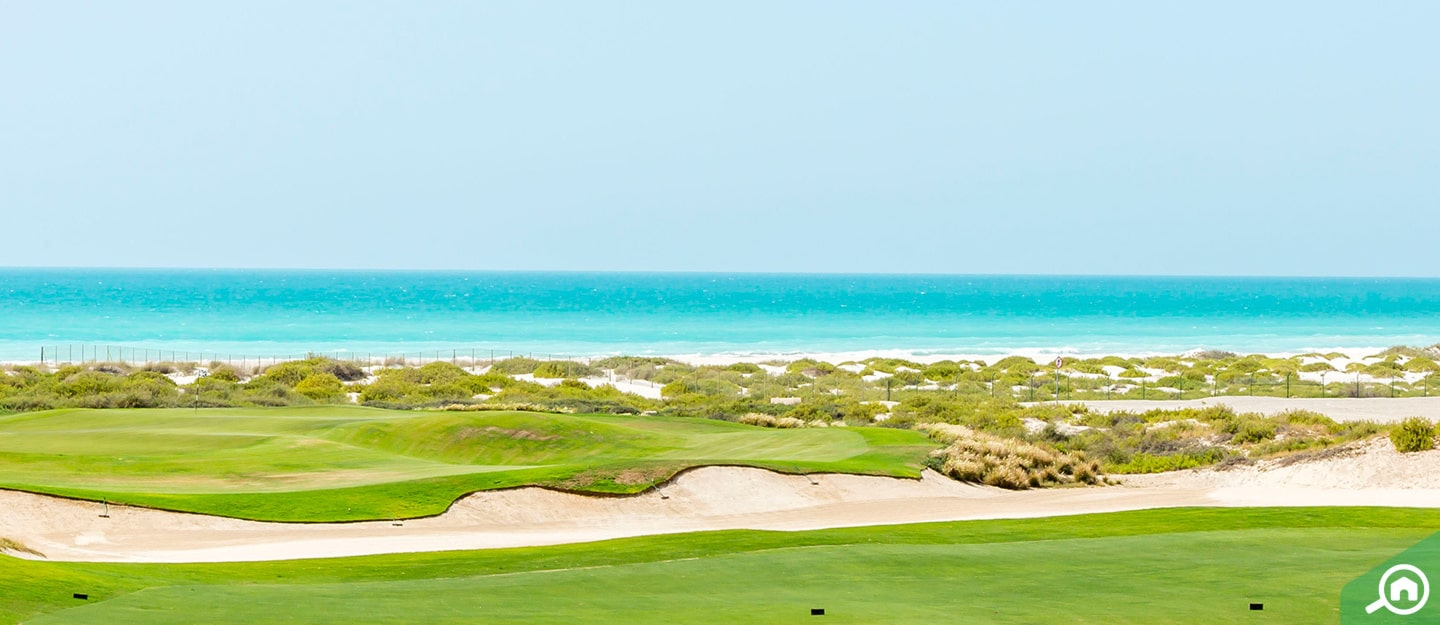 View of the sea and golf course from Saadiyat Island