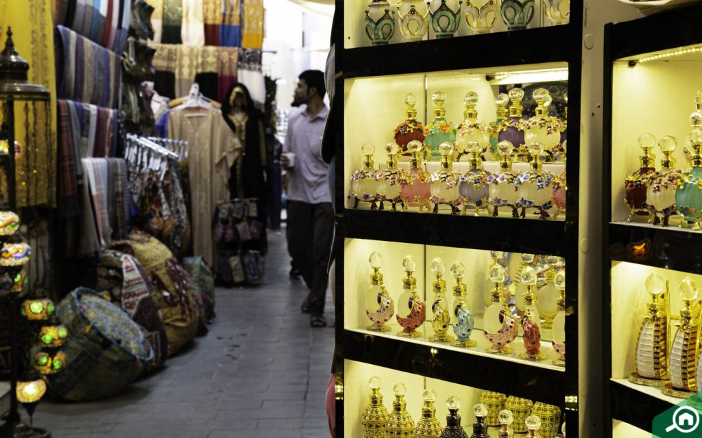 Arabian perfumes and essential oils displayed neatly at the Grand Souk in Deira Dubai
