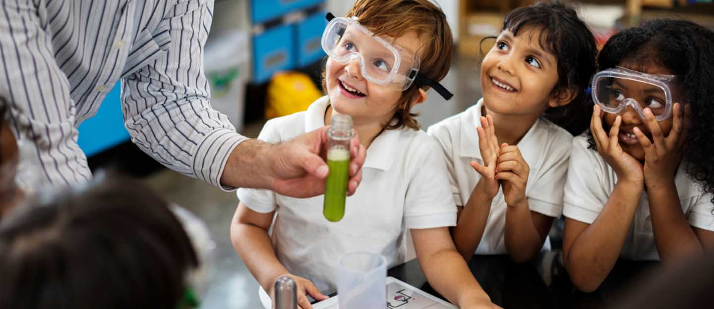 Students in science lab in one of the schools in Al Tallah