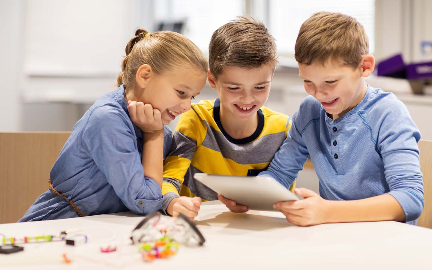Students study on a tablet at one of the American schools in Sharjah