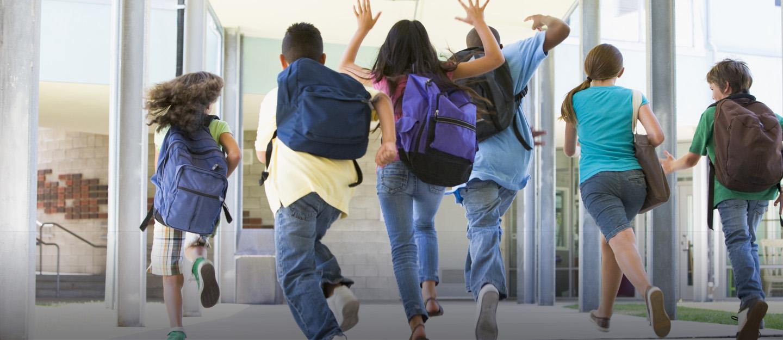kids running to class