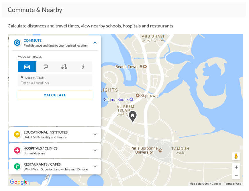 The Nearby tool has been included for every property in Dubai, Abu Dhabi, Sharjah and the northern emirates.