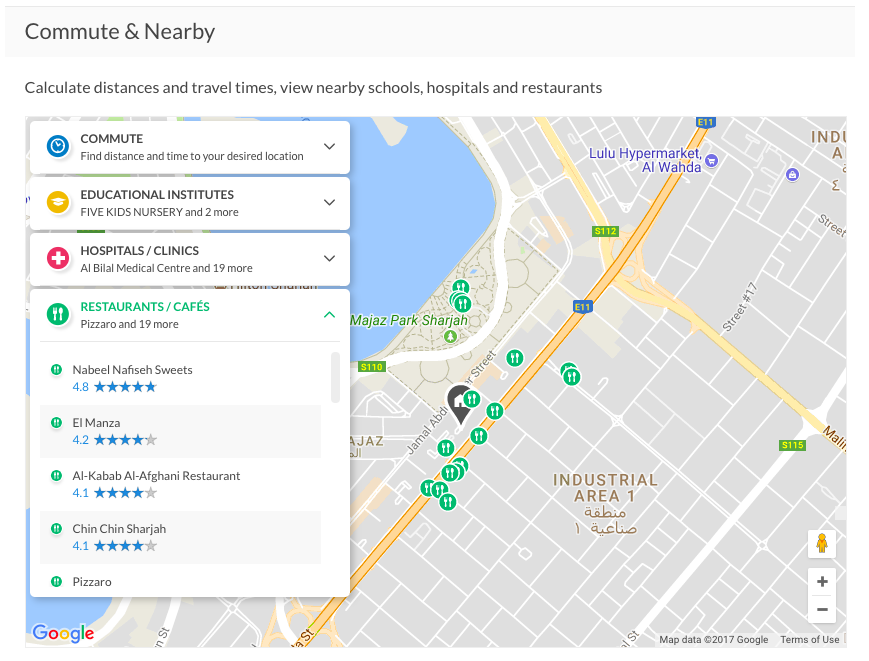 The nearby tool helps you see what's in your neighbourhood