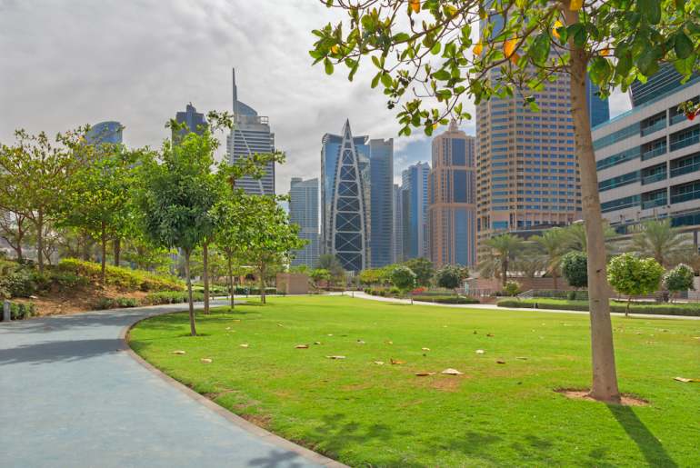 This apartment for under AED 1 Million has a lovely view of the park in JLT.