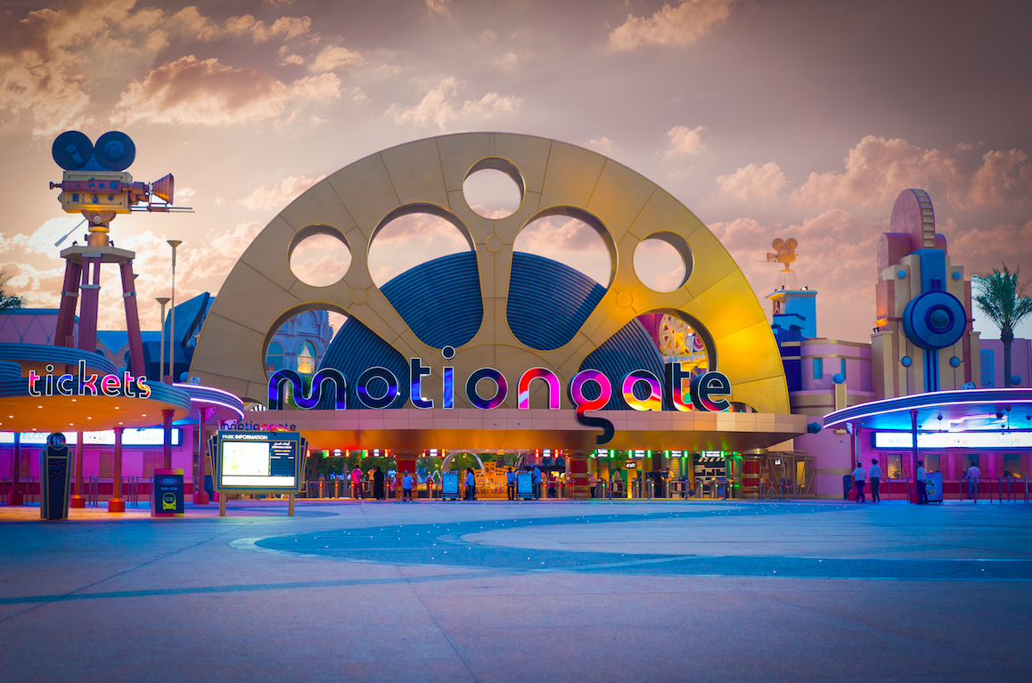 the entrance to motiongate theme park