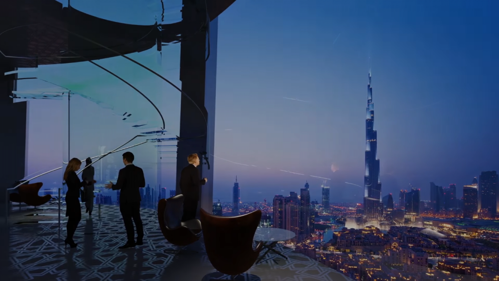 Screenshot from Emaar's 'Take A Fly-through Tour of the Tower at Dubai Creek Harbour video shows the Downtown Dubai skyline
