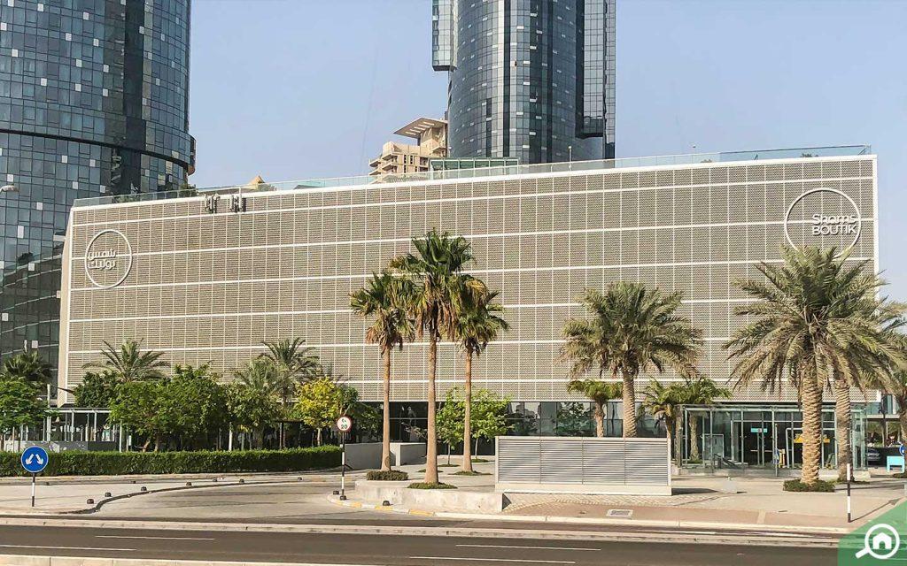Shams Boutik Mall entrance on Al Reem Island