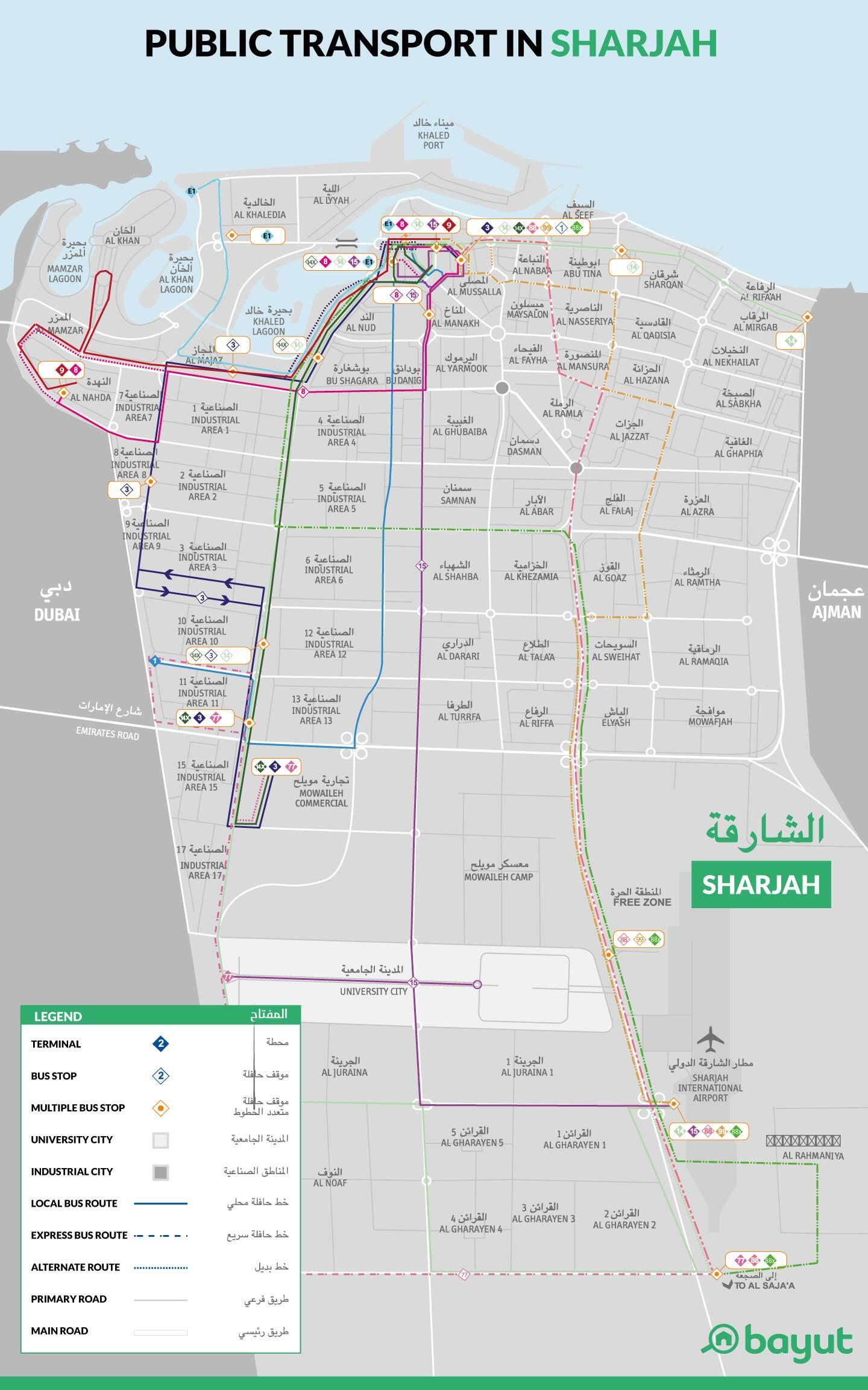 Network map of Mowasalat Bus service