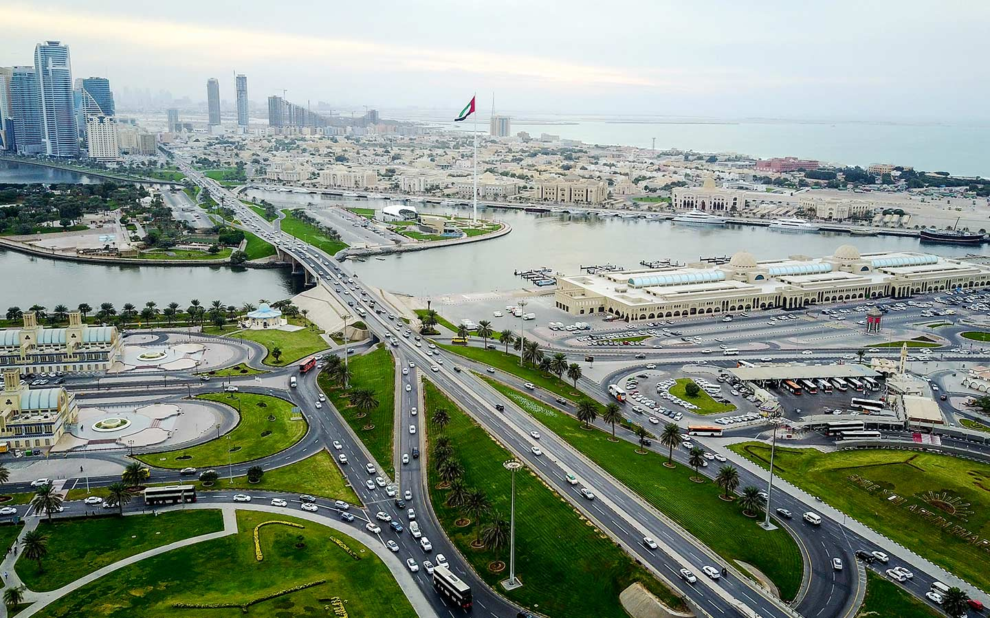 Sharjah city bird-eye view