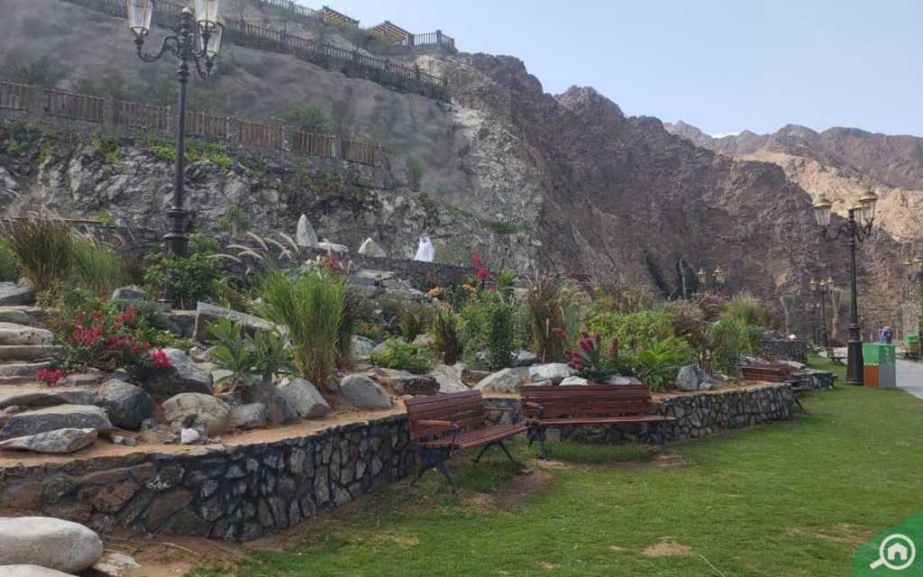 Seating and landscaping at Shees Park Khor Fakkan