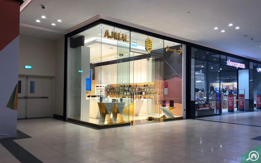 AJMAL Perfumes and Shoexpress outlets are located side by side at the first floor