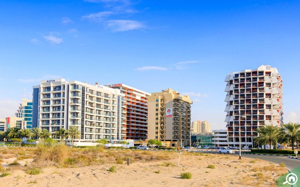Apartment buildings in Dubai Silicon Oasis