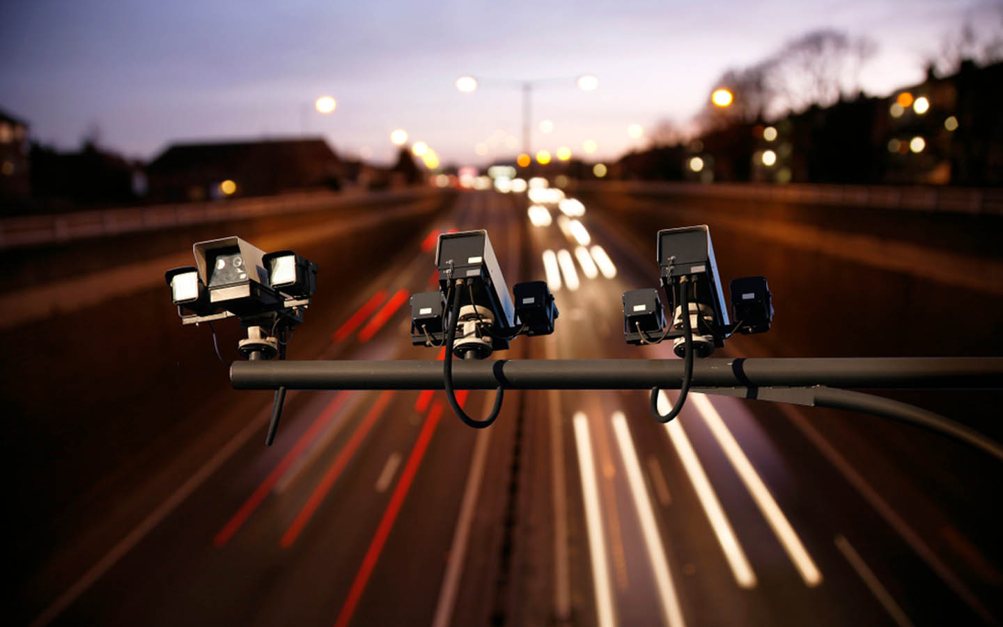 Speed checking cameras placed on a highway