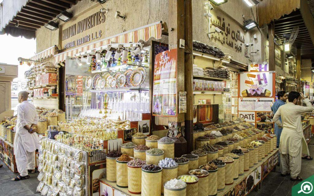 Souvenirs and spices at a Dubai souk