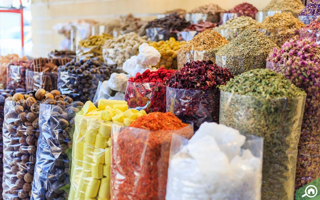 Spices lined up together in spice souk