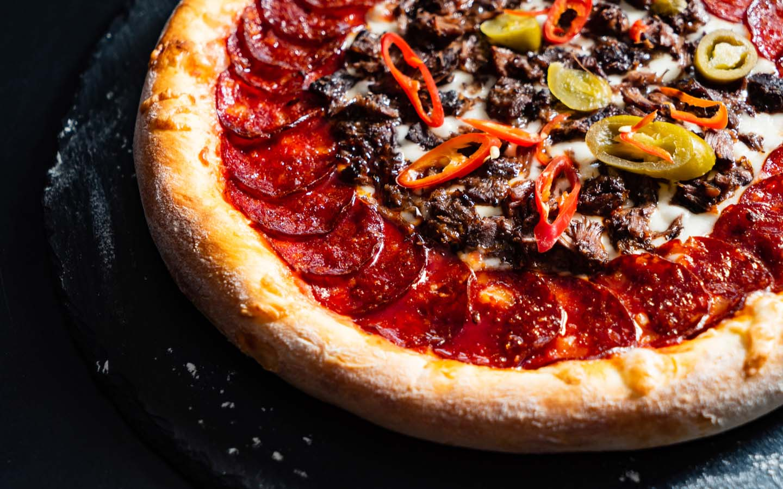 Salami and Chilli Pepper Pizza