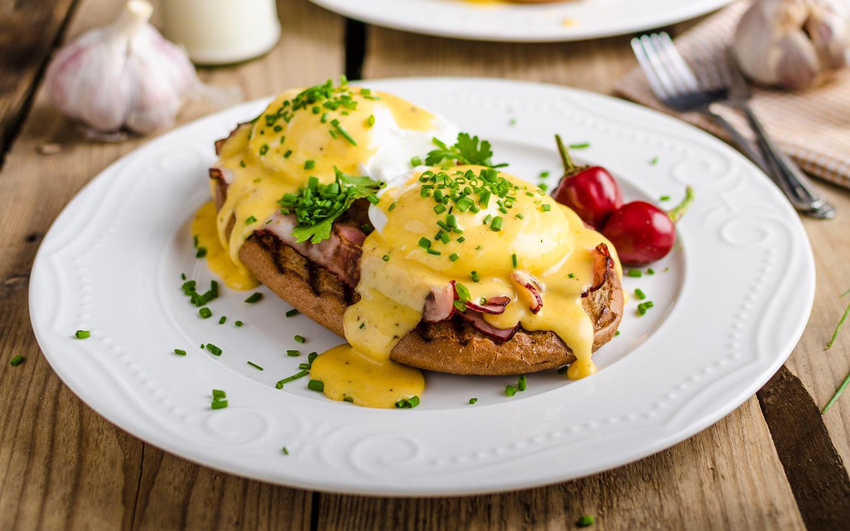 View of Eggs Benedict dish