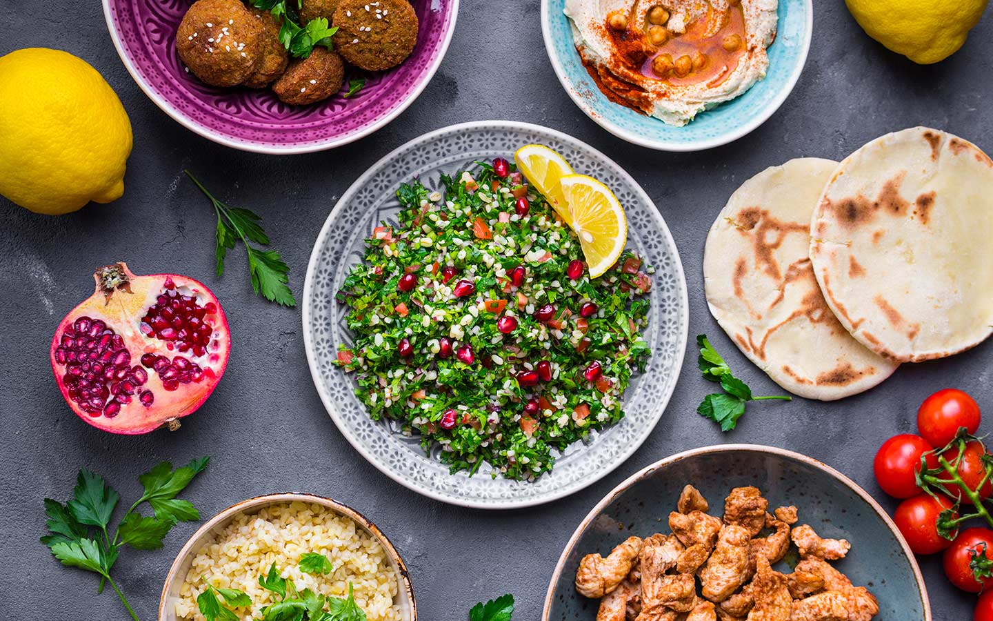 View of various Middle Eastern dishes