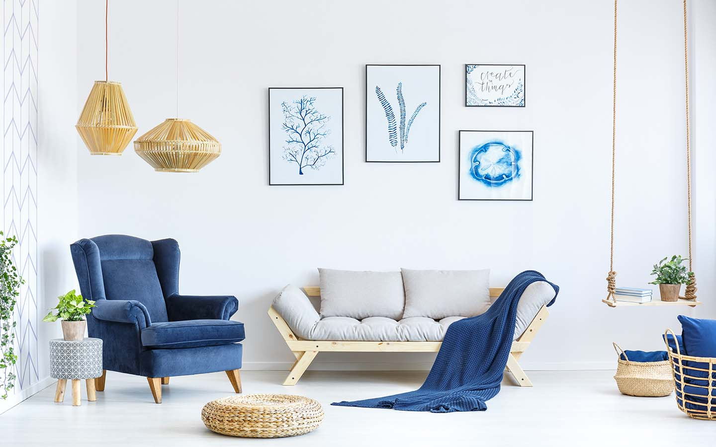 White and blue living room.