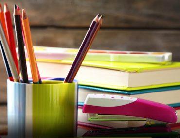Stationery items on a desk