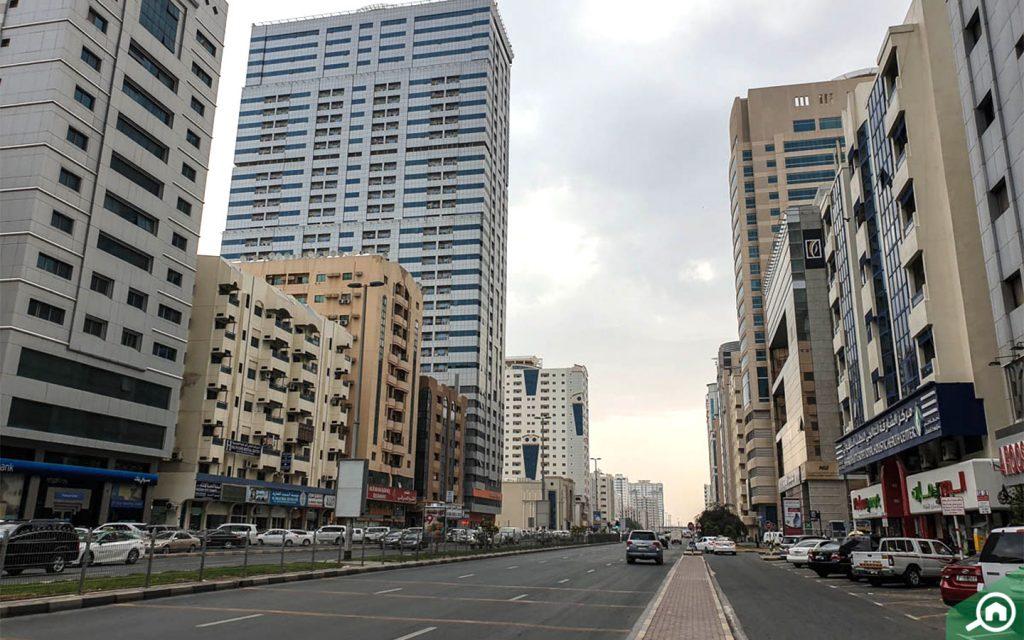 Street view of Al Qasimia in Sharjah