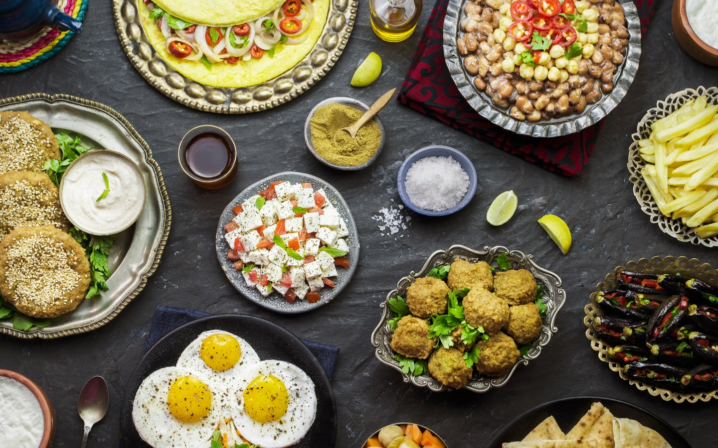 Arabic dishes on a table