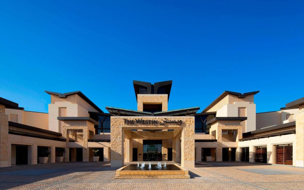 Main entrance of the Westin Abu Dhabi Golf Resort and Spa