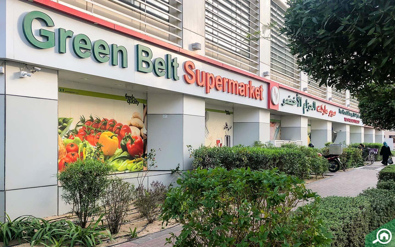 Sign of Green Belt Supermarket in DSO