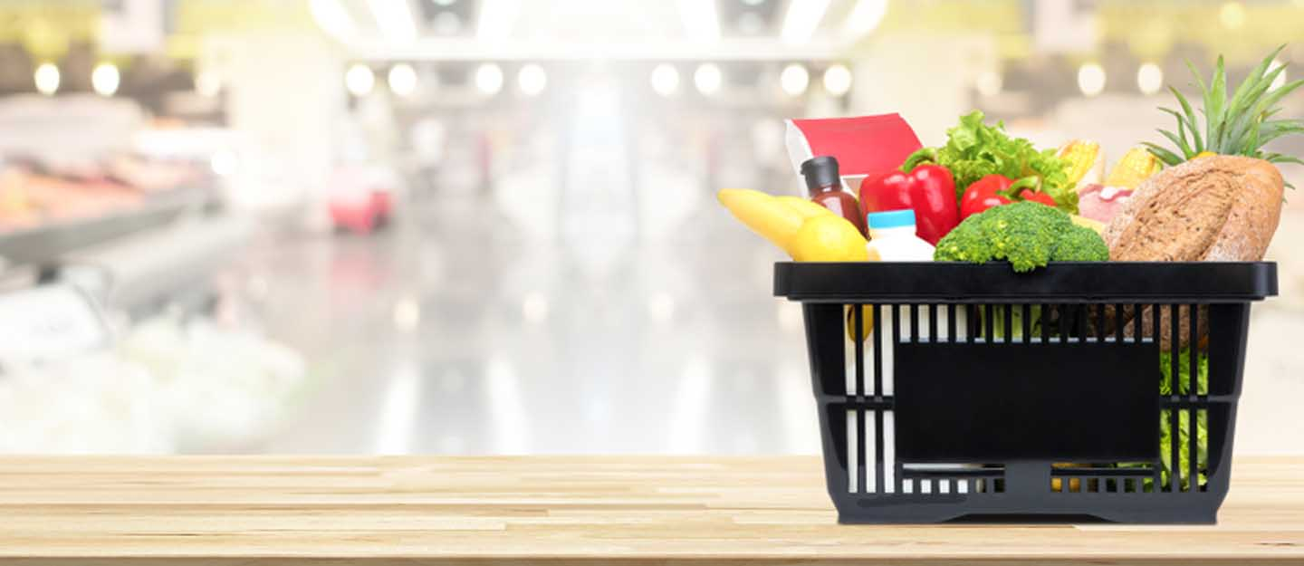 a shopping basket in a supermarket