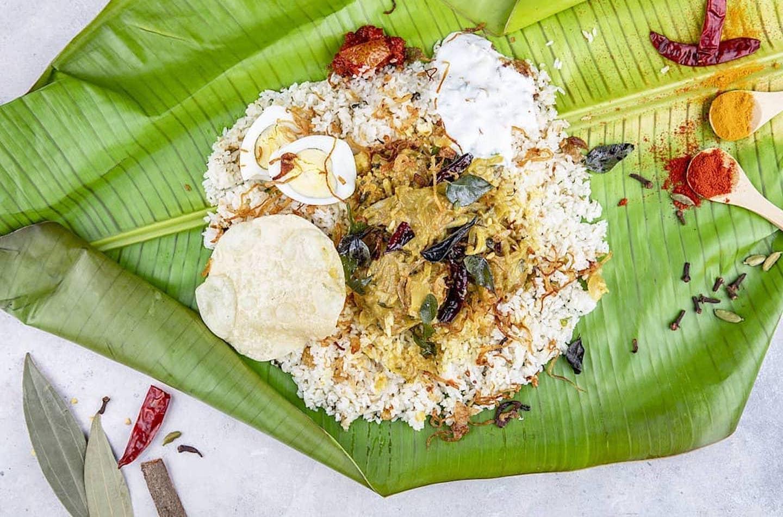 Kerala food wrapped in banana leaf