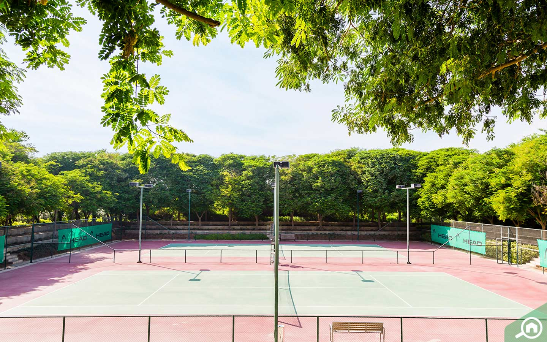 Tennis court at Al Barari Farm Dubai