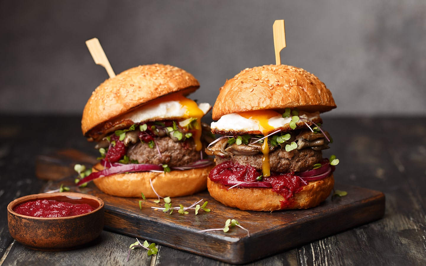 Image of two beef burgers