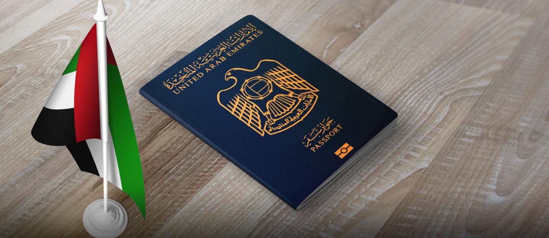 UAE visa and flag
