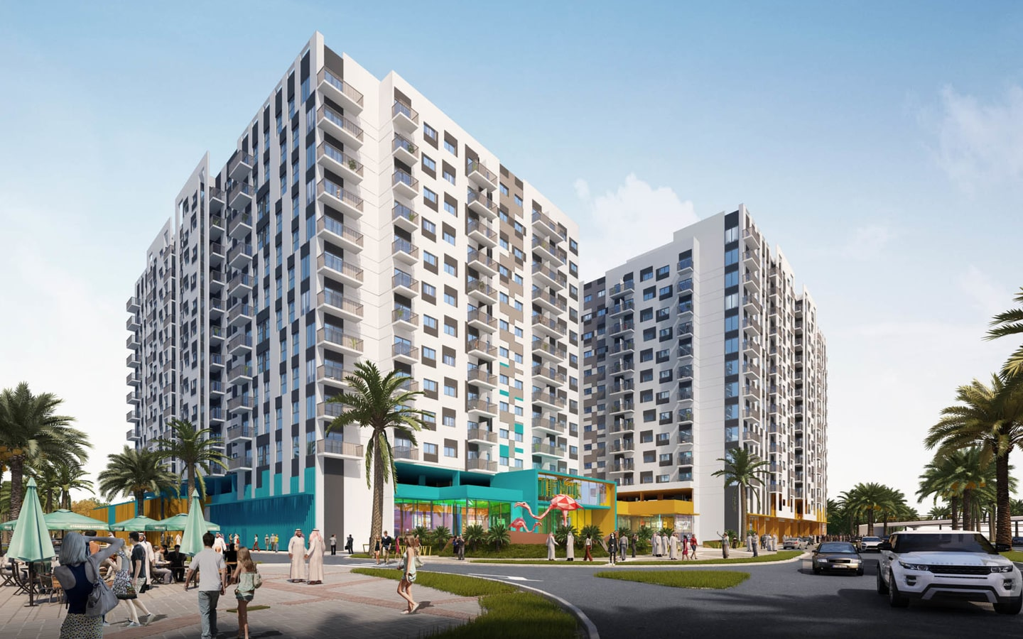 View of The Nook apartment buildings, one of the upcoming projects in Expo 2020
