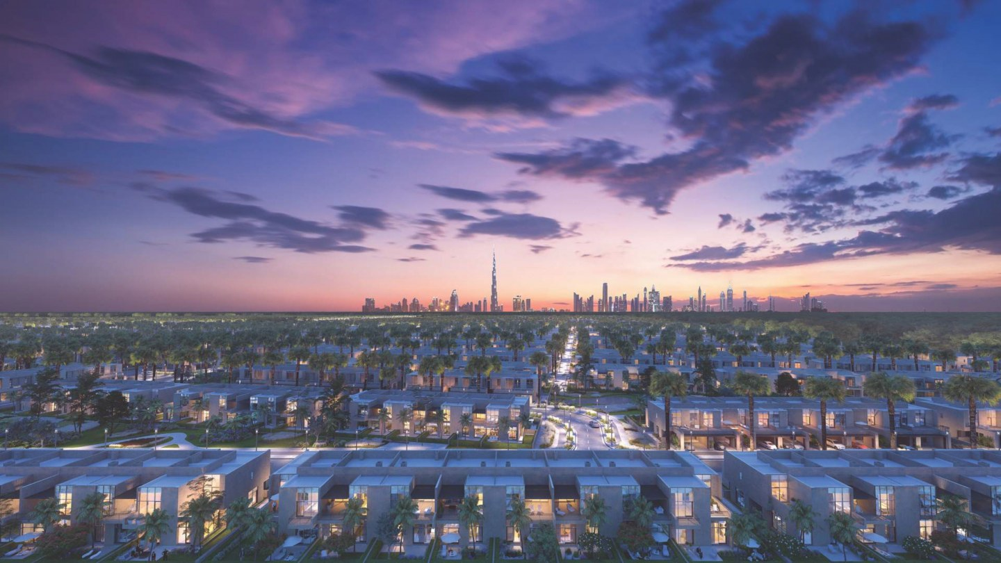 The Fields Cassia area in MBR City Dubai render of numerous villas at sunset