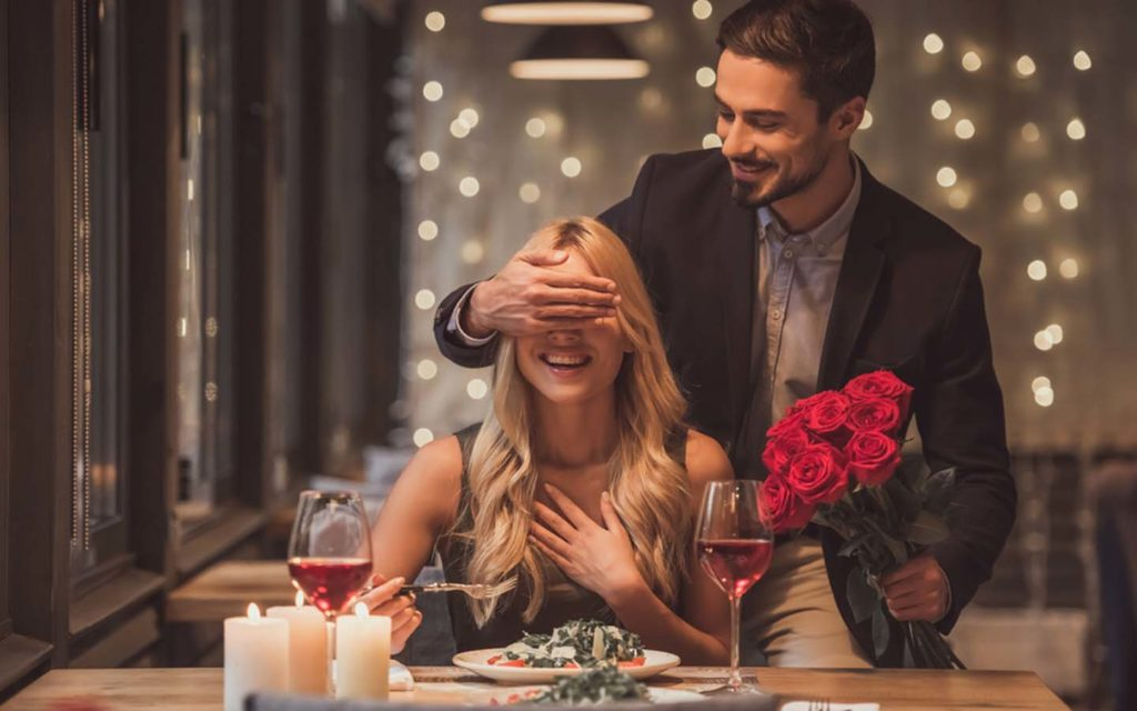 Romantic couple at a restaurant