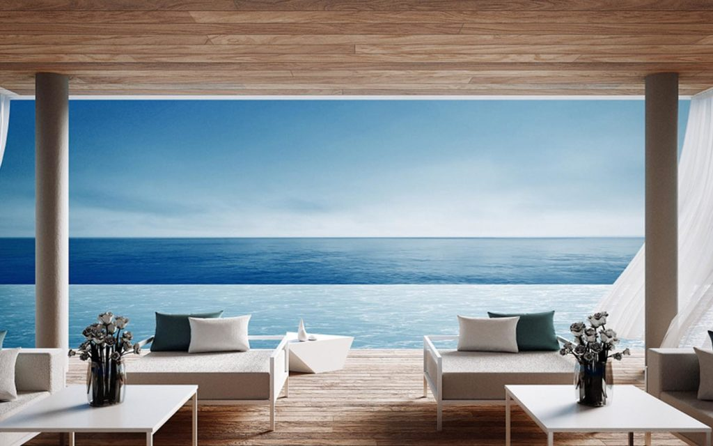 View from a floating villa